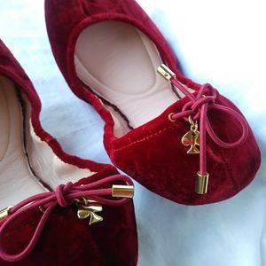kate spade Shoes - Kate Spade Globe Foldable Velvet Flats Size 10